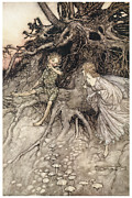 Fantasy Tree Art Painting Posters - A Midsummer Nights Dream Poster by Arthur Rackman