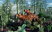 Saber Digital Art - A Pair Of Sabre-toothed Tigers Hunting by Mark Stevenson