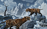Snow-covered Landscape Digital Art Prints - A Pair Of Sabre-toothed Tigers Print by Mark Stevenson