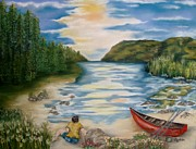 Oars Paintings - A Quiet Moment by Annamarie Sidella-Felts