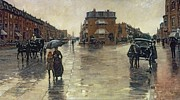 Streets Metal Prints - A Rainy Day in Boston Metal Print by Childe Hassam