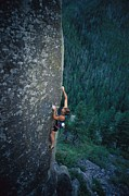 Sporting Equipment Prints - A Rock Climber In Montanas Hyalite Print by Gordon Wiltsie