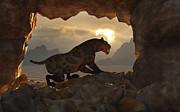 Cave Digital Art - A Sabre Tooth Tiger Stands by Mark Stevenson