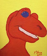 Cartoon Dinosaurs Prints - A Saurus Wrex Print by Yshua The Painter