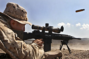 Rifle Sight Prints - A Scout Sniper Fires His Mk-11 Sniper Print by Stocktrek Images