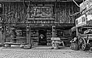 Log Cabin Prints - A Simpler Time bw Print by Steve Harrington