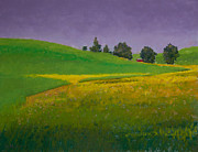 Field Pastels Prints - A Sliver of Canola Print by David Patterson