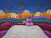Folk Art Sculpture Metal Prints - A Snowy Night Metal Print by Anne Klar
