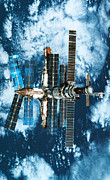 Space Station Framed Prints - A Space Station Orbiting Above The Earth Framed Print by Stockbyte