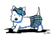 White Terrier Drawings - A Stitch In Tam by Kim Niles
