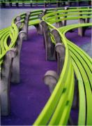 Purple And Green Prints - A Study in Purple and Green Print by Jane Linders