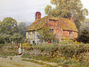 Chickens Framed Prints - A Surrey Cottage Framed Print by Helen Allingham