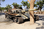 Muammar Gaddafi Prints - A T-72 Tank Destroyed By Nato Forces Print by Andrew Chittock