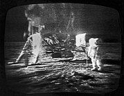 Neil Armstrong And The Moon Prints - A Televised View Of The Apollo 11 Print by Rex A. Stucky
