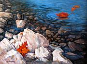 Water. Lake Prints - A Touch of Fall Print by Tanja Ware