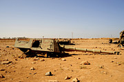 Muammar Gaddafi Prints - A Tracked Artillery Vehicle Destroyed Print by Andrew Chittock