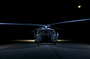 Night Hawk Prints - A Uh-60 Black Hawk Helicopter Lit Print by Terry Moore