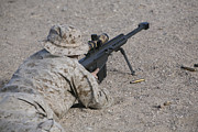 Concentration Prints - A U.s. Marine Zeros His M107 Sniper Print by Stocktrek Images