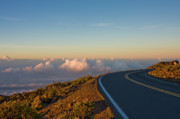 Asphalt Framed Prints - A winding road to the Top of Maui Haleakala Volcano Framed Print by Denis Dore
