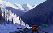 Snowscape Painting Prints - A Winter Drive in British Columbia Print by Neil Woodward
