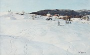 Ski Painting Metal Prints - A Winters Day in Norway Metal Print by Fritz Thaulow