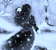 Blizzard Scenes Digital Art Prints - A Winters Walk Print by Lori  Lovetere