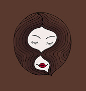Face Drawings Prints - A woman Print by Frank Tschakert