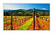 Wine Country Digital Art Prints - A Yamhill County Vineyard Print by Margaret Hood