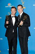 Atas Emmys Awards Framed Prints - Aaron Paul, Bryan Cranston In The Press Framed Print by Everett