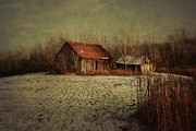 Field. Cloud Prints - Abandoned barn after the first snow Print by Sandra Cunningham