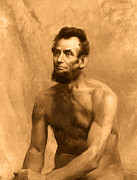 Karine Percheron-daniels Prints - Abraham Lincoln Nude Print by Karine Percheron-Daniels