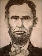 President Lincoln Drawings - Abraham Lincoln by Rebecca Robinson