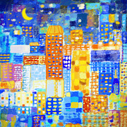 Tiled Digital Art Prints - Abstract City Print by Setsiri Silapasuwanchai
