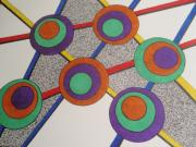 Circles Drawings Originals - Abstract Ink Design by Beth Akerman
