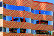 Glass Prints - Abstract Reflections in Glass Tucson Arizona Print by Christine Till
