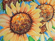 Colorful Floral Gardens Paintings - Abstract Sunflowers by Chrisann Ellis