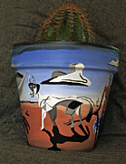 Surrealism Ceramics Metal Prints - Abstract-Surreal cactus pot B Metal Print by Ryan Demaree