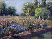 Italian Pottery Prints - Across the Meadow Print by B Rossitto