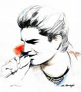 Expression Drawings Prints - Adam Lambert Print by Lin Petershagen