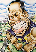 Caricature Mixed Media Framed Prints - Adrian Peterson Framed Print by Big Mike Roate