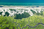 Aerials Prints - Aerial vew of Sandy Neck Beach in Barnstable on Cape Cod Massac Print by Matt Suess