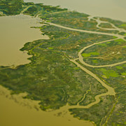 Flood Prints - Aerial View of a Flood Plain Print by Eddy Joaquim