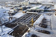 Sawmill Framed Prints - Aerial View Of A Siberian Sawmill Framed Print by Ria Novosti
