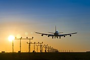 Boeing 747 Prints - Aeroplane Landing At Sunset, Canada Print by David Nunuk