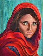 Cover The Pain Framed Prints - Afghan Girl Framed Print by Cristina Gosserez