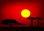 Gloaming Digital Art Framed Prints - Africa sunset Framed Print by Michal Boubin