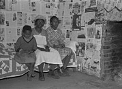 African-americans Framed Prints - African American Mother With Her Two Framed Print by Everett