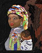 Shawl Mixed Media - African Mamma by Laura Fatta