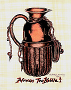 Tea Pot Drawings Prints - African Tea Kettle Print by Kapal-Lou