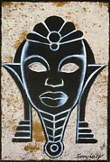 Mask Drawings Framed Prints - Africana Framed Print by Joseph Sonday